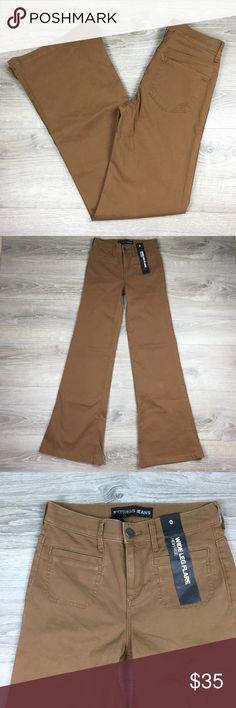 NWT Express Wide Leg Flare High Rise khaki 0 Dark khaki color. Paper hang tag is missing - other tags still attached. Express Jeans Flare & Wide Leg