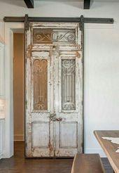 French Doors On Barn Door Hardware Barn Doors For Sale, Inside Barn Doors, Antique Doors For Sale, French Country Rug, French Country Decorating, Barn Door Designs, Vintage Doors, Vintage Door Decor, Old Door Decor