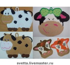 r Crochet Cow, C2c Crochet, Crochet Animals, Crochet Patterns, Crochet Towel Topper, Crochet Hot Pads, Caron Yarn, Crochet Potholders, Crochet Kitchen