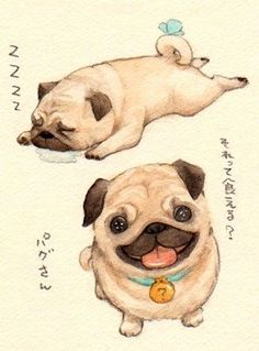 Love the sleeping pug.this is how my puglet baby Beatrice collapses after a rowdy play time.she just crashes and this is how she lays, usually snoring. Cartoon Dog, Cartoon Drawings, Mops Tattoo, Art Kawaii, Pug Tattoo, Pugs And Kisses, Pug Art, Pug Puppies, Love Illustration