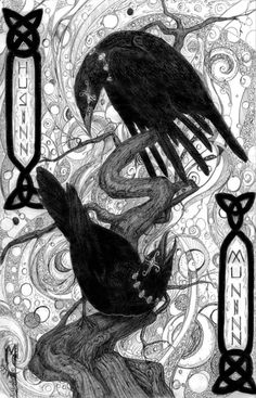 """In Norse Mythology, Huginn (""""thought"""") and Muninn (""""memory"""" or """"mind"""") are a pair of ravens that fly all over Midgard and bring the god Odin information."""