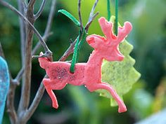 Christmas ornaments made with homemade playdough and glitter ~ from The Magic Onions