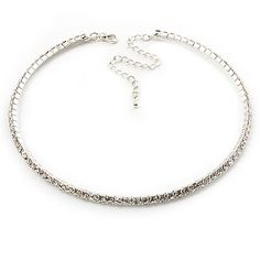 Thin Clear Swarovski Crystal Choker Necklace (Silver Plated): Jewelry: Amazon.com