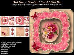 Dahlias   Pendant Card Mini Kit on Craftsuprint - View Now!