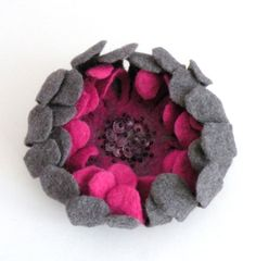 Felted flower brooch pin  grey and pink cyclamen by AgnesFelt
