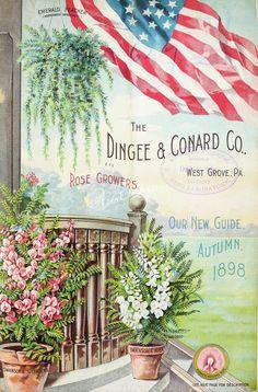 078-USA Flag, flowers in vase, ferns      ...