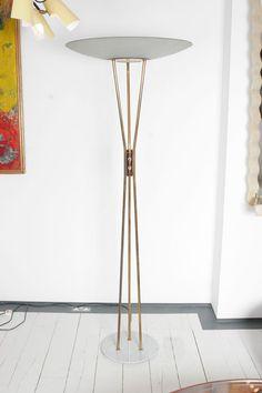 Gaetano Sciolari; #4013 Brass, Marble and Acid-Etched Glass Floor Lamp for Stilnovo, 1957.