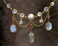 Antique Gold Moonstone Ruby  Necklace