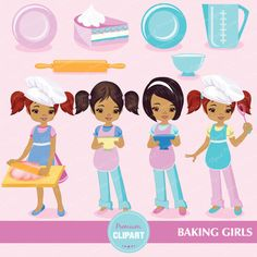 70% OFF SALE Baking girls clipart cliparts by PremiumClipart