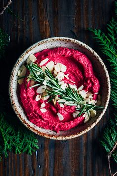 This winter beet hummus is as healthy as it is beautiful, with earthy red beets, roasted garlic, and rosemary. The perfect addition to your Holiday table!
