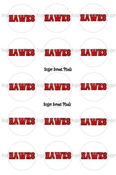 INSTANT DOWNLOAD White  Red Hawks School Mascot by sugarnspicebow