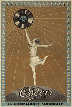 ein-bleistift-und-radiergummi:  Vintage 'Odeon' RecordsPoster Ad ca. 1920's