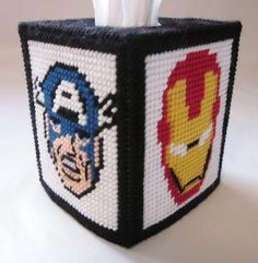 avengers in plastic canvas | Avengers tissue box cover in plastic canvas PATTERN ONLY