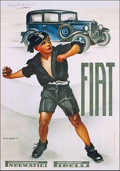 #FIAT Balilla, pneumatici #Pirelli original #vintage #poster manifesto  www.posterimage.it
