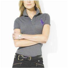ralph lauren outlet uk Women\u0026#39;s Classic Big Pony Short Sleeve Polo Shirt Grey http:/