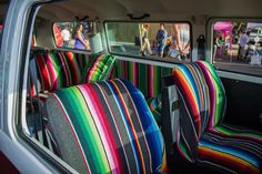 "Rt. 66 Car Show in Albuquerque,NM (Search for ""505 VW Bus"" on facebook for more goodies) Genuine serape interior. :)"