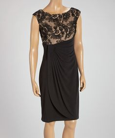 Look what I found on #zulily! Black & Nude Lace Gathered Sheath Dress by Connected Apparel #zulilyfinds