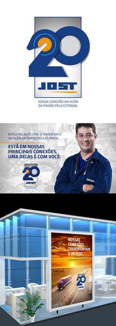 Selo e identidade visual dos 20 anos da Jost no Brasil desenvolvidos pela Interativacom.