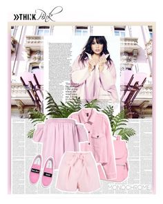 """""""Pink Sugar   MONOCHROME"""" by pannise ❤ liked on Polyvore featuring Kipling, Milly, Boohoo, Joshua's, monochrome and Pink"""