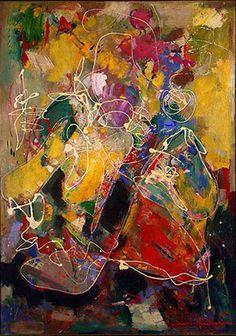Hans Hofmann ~ Fantasia, 1943 (oil and mixed media on plywood)