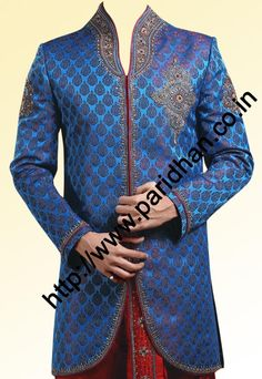 Royal Look Indo Western Sherwani With Dhoti Wedding Dresses Men Indian, Wedding Outfits For Groom, Wedding Dress Men, Wedding Suits, Groom Outfit, Groom Dress, Men Dress, Blue Sherwani, Sangeet Outfit