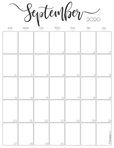 Vertical September 2020 Monthly Calendar – Free (and pretty! Printable December Calendar, Free Printable Calendar Templates, September Calendar, Blank Calendar Template, 2021 Calendar, Printable Planner, Free Printables, Email Templates, Monthly Planner