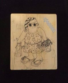 PSX F296 SANTA CLAUS on VACATION Rubber Stamp BEACH Summer Candy Canes Christmas #PSX #F296