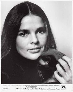 Ali MacGraw  movie promo for 'Love Story' 1970 as Jennifer Cavalleri with her Siamese cat