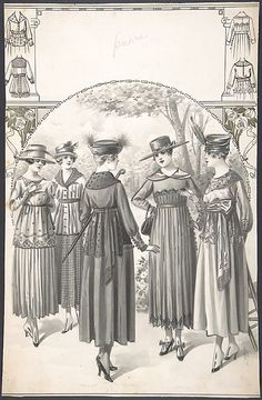 Designs For Five Women's Dresses. By A. Foa, French. 1915.  Metropolitan Museum of Art.