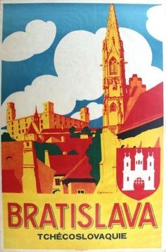 Bratislava Czechoslovakia Art Deco, - original vintage poster by J… Illustrations Vintage, Illustrations And Posters, Tourism Poster, Railway Posters, Art Graphique, Travel And Tourism, Vintage Travel Posters, Cool Posters, Budapest