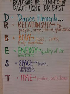 D.R. B.E.S.T. Elements of Dance The best way to share the best dance experience you can with your students. Through Dr. Best - my favourite past time of dance is when doing my best with my students.