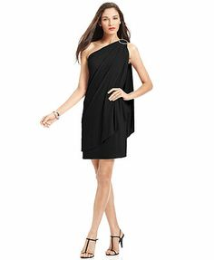 Draped One Shoulder Black Dress