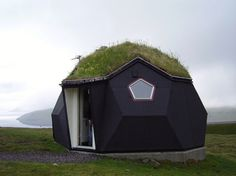Geodesic tiny house with green roof - guest house, or access to root cellar?