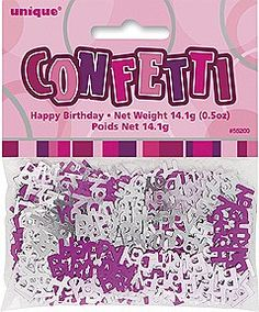 """Happy Birthday Pink Confetti Add some glitz and glam to your party with our Happy Birthday Pink Confetti. The pack contains 14.1g of pink and silver confetti and features die cut metallic """"Happy Birthday"""" messages. Confetti is a fun to sprinkle on table tops or use in envelopes when sending invitations or thank you cards. Today confetti comes in many different shapes and colors. It can be made from paper, plastic or metallic foil. It is used at all kinds of celebrations but it is…"""