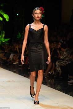 Runways ready: Hours later on the runway, Hailey stole the show as she sashayed down the c...