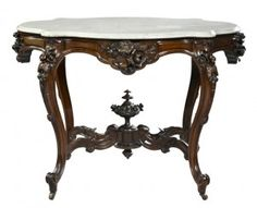 Victorian Carved Rosewood Center Table With Marble Top, Attributed To Alexander Roux   c.1860