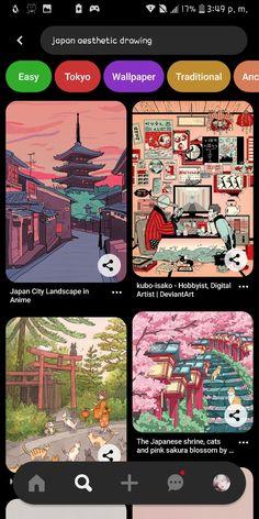 Aesthetic Songs, Aesthetic Drawing, Aesthetic Art, Japanese Shrine, City Landscape, Instagram Blog, Cartoon Art Styles, Aesthetic Vintage, Easy Drawings