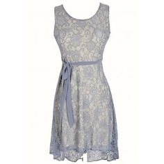 Periwinkle Lace High Low Dress with Fabric Sash - DRESSES