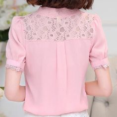 Free shipping 2016 Summer New Women lace shirt Hollow Fashion Casual short-sleeved chiffon blouse Shirt Plus size ladies Tops Look Fashion, Fashion Outfits, Moda Casual, Business Casual Outfits, Beautiful Blouses, Blouse Styles, Pretty Outfits, Shirt Blouses, Blouses For Women