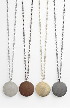 Very smart metal pendants, I want all 4 colors! ~ Nordstrom Textured Disc Pendant Necklace (Nordstrom Exclusive) available at #Nordstrom