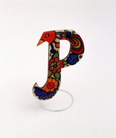 Hand painted personalized wooden brooch jewelry, crystal resin coated, pin finding, letter P