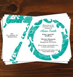 70th birthday invitation templates