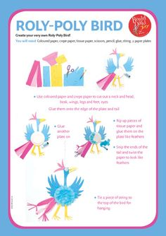 Illustrated instructions on how to make a <b>Roly</b> <b>Poly</b> bird inspired by ...