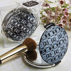 Mirrors & Fans Favours : Classy Compacts Damask Design Compact Favours