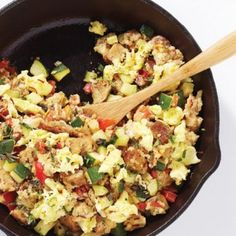 Spanish Scramble Recipe Breakfast and Brunch with egg whites, egg yolks, dried oregano, paprika, saffron, cooking oil, whole grain bread, zucchini, red bell pepper, plum tomatoes