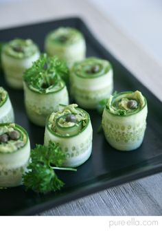 Pure-Ella: CUCUMBER ROLLS HORS D'OEUVRES WITH CREAMY AVOCADO SPREAD
