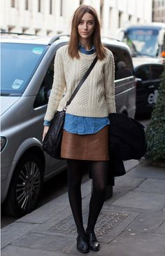 cable knit, denim shirt + leather skirt
