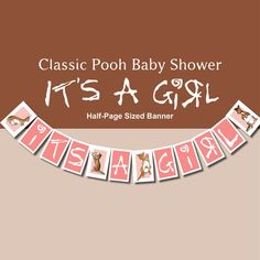 Classic Pooh Its a Girl Baby Shower Banner