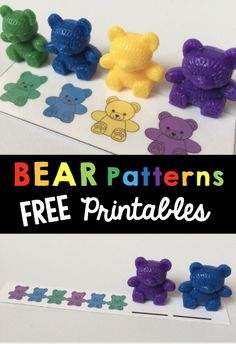 Free printable bear patterns for your centers or busy bag shelf - toddlers - preschool or kindergarten