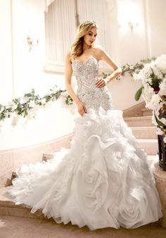 Moonlight Couture mermaid styled gown with sweetheart neckline, dropped waist, and embellished lace I Style: H1318 I https://www.theknot.com/fashion/h1318-moonlight-couture-wedding-dress?utm_source=pinterest.com&utm_medium=social&utm_content=june2016&utm_campaign=beauty-fashion&utm_simplereach=?sr_share=pinterest